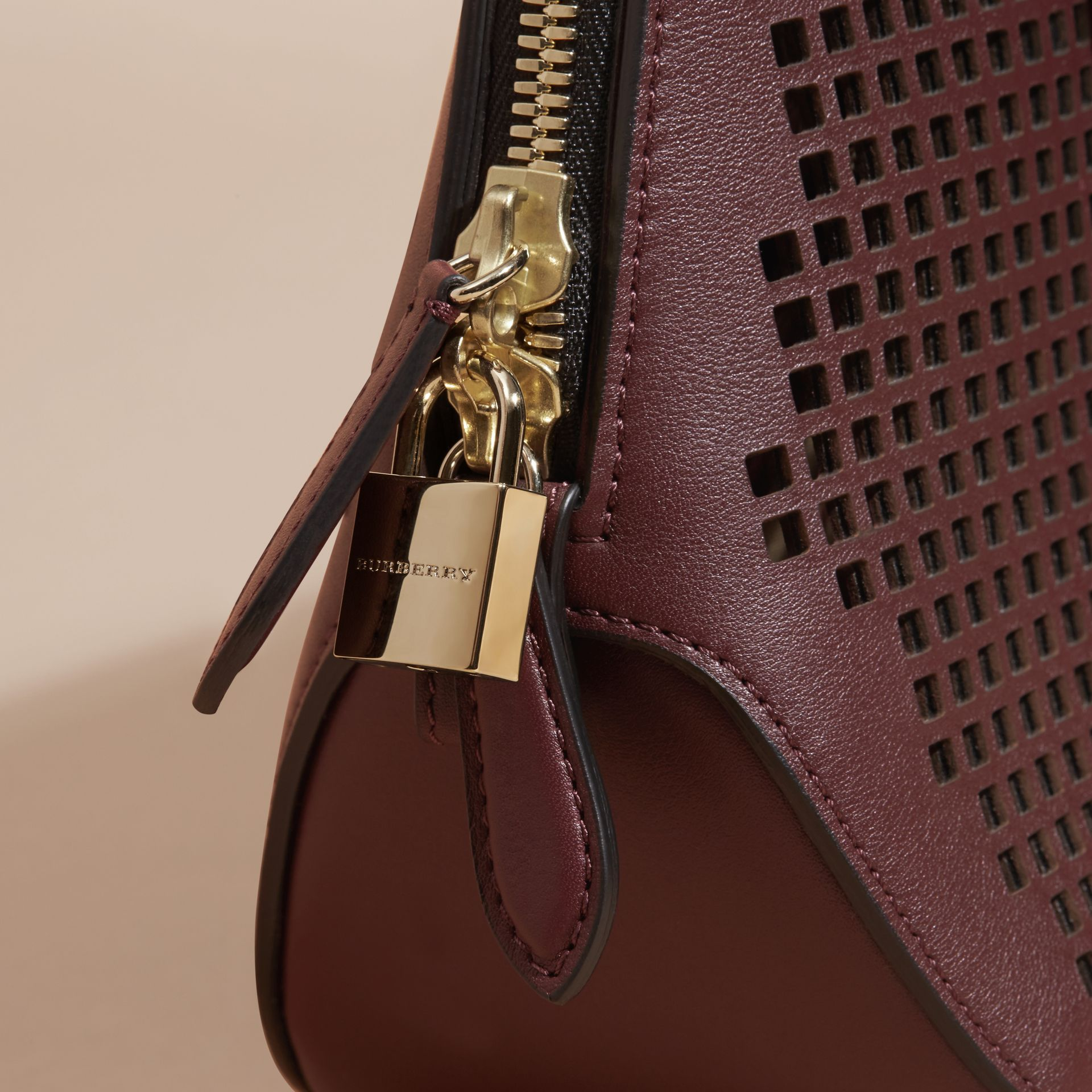 Deep claret The Small Orchard in Laser-cut Leather - gallery image 7