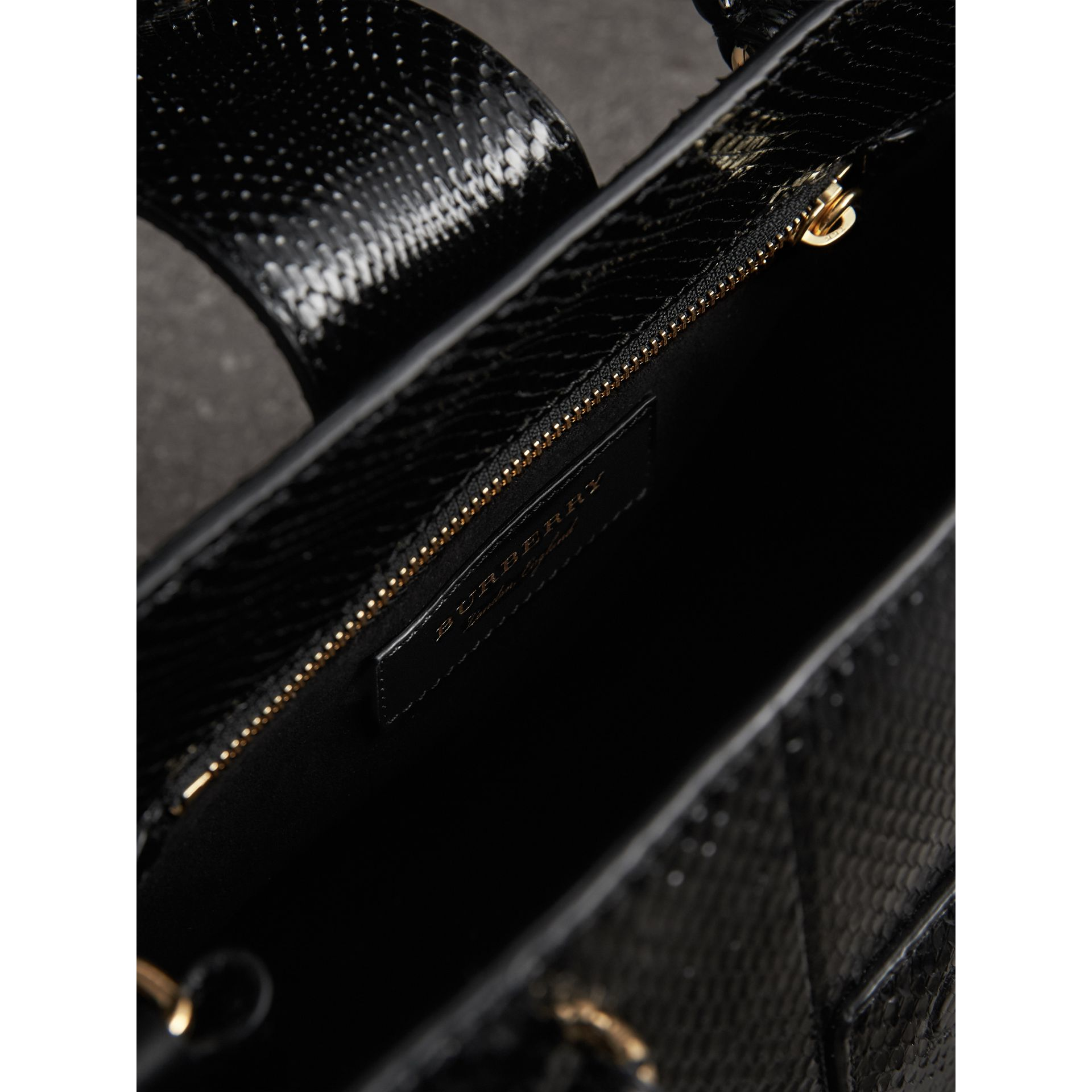 The Small Buckle Tote in Python in Black - Women | Burberry - gallery image 5