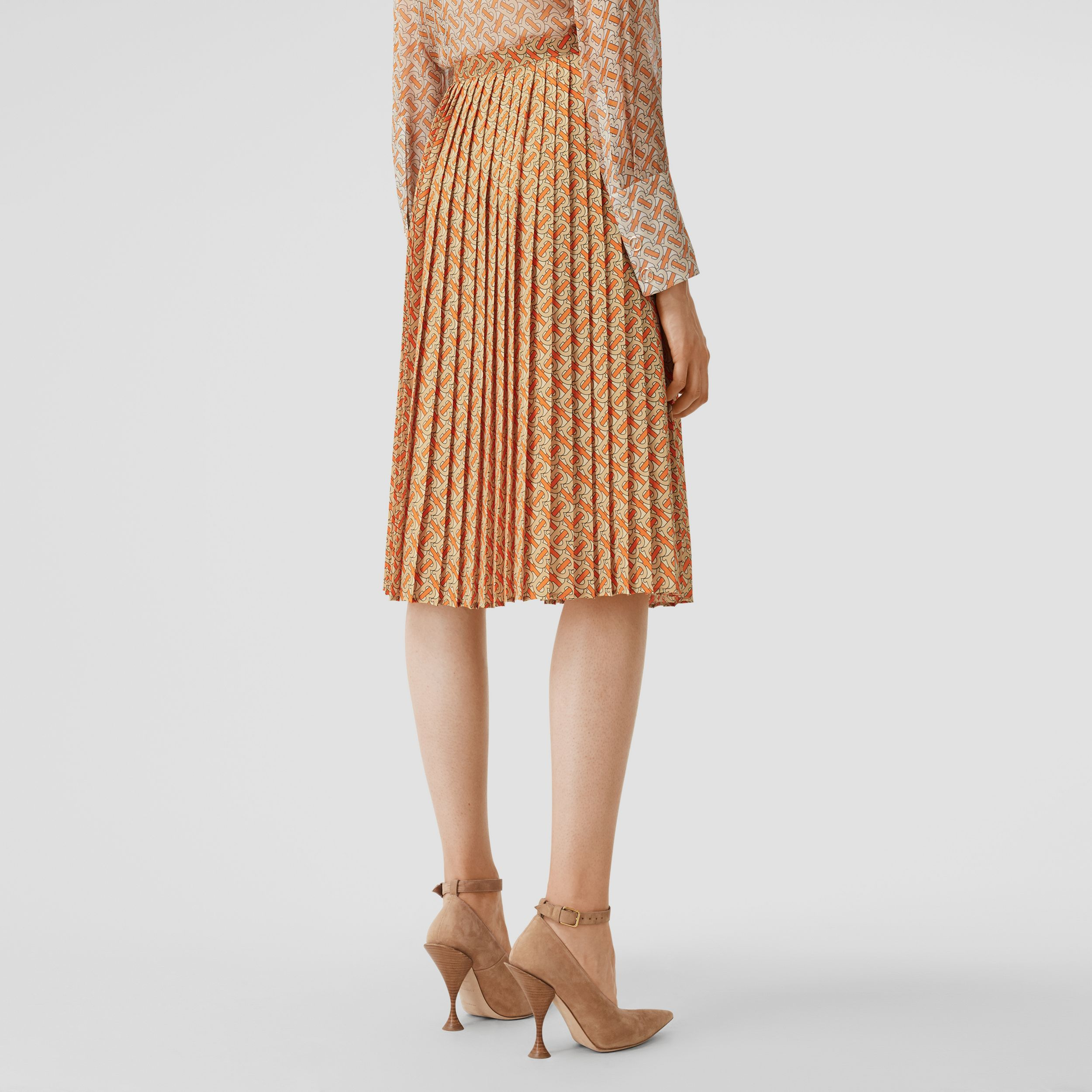 Monogram Print Crepe De Chine Pleated Skirt in Bright Orange - Women | Burberry - 3