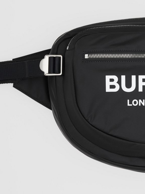 Large Logo Print ECONYL® Cannon Bag in Black | Burberry Australia - cell image 1