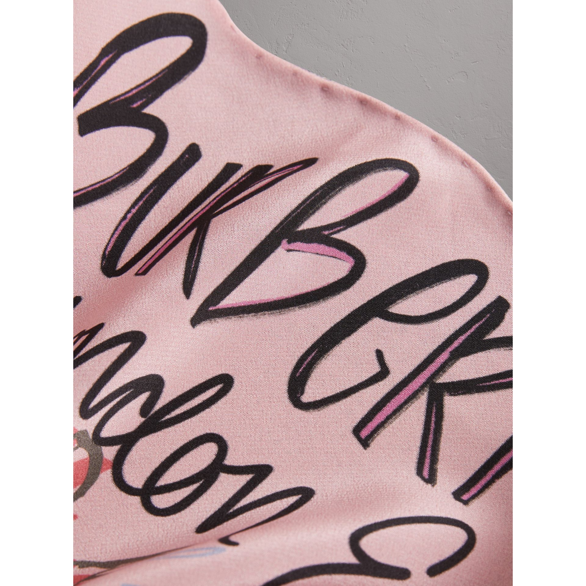 Postcard Print Silk Scarf in Bright Rose - Women | Burberry United States - gallery image 1