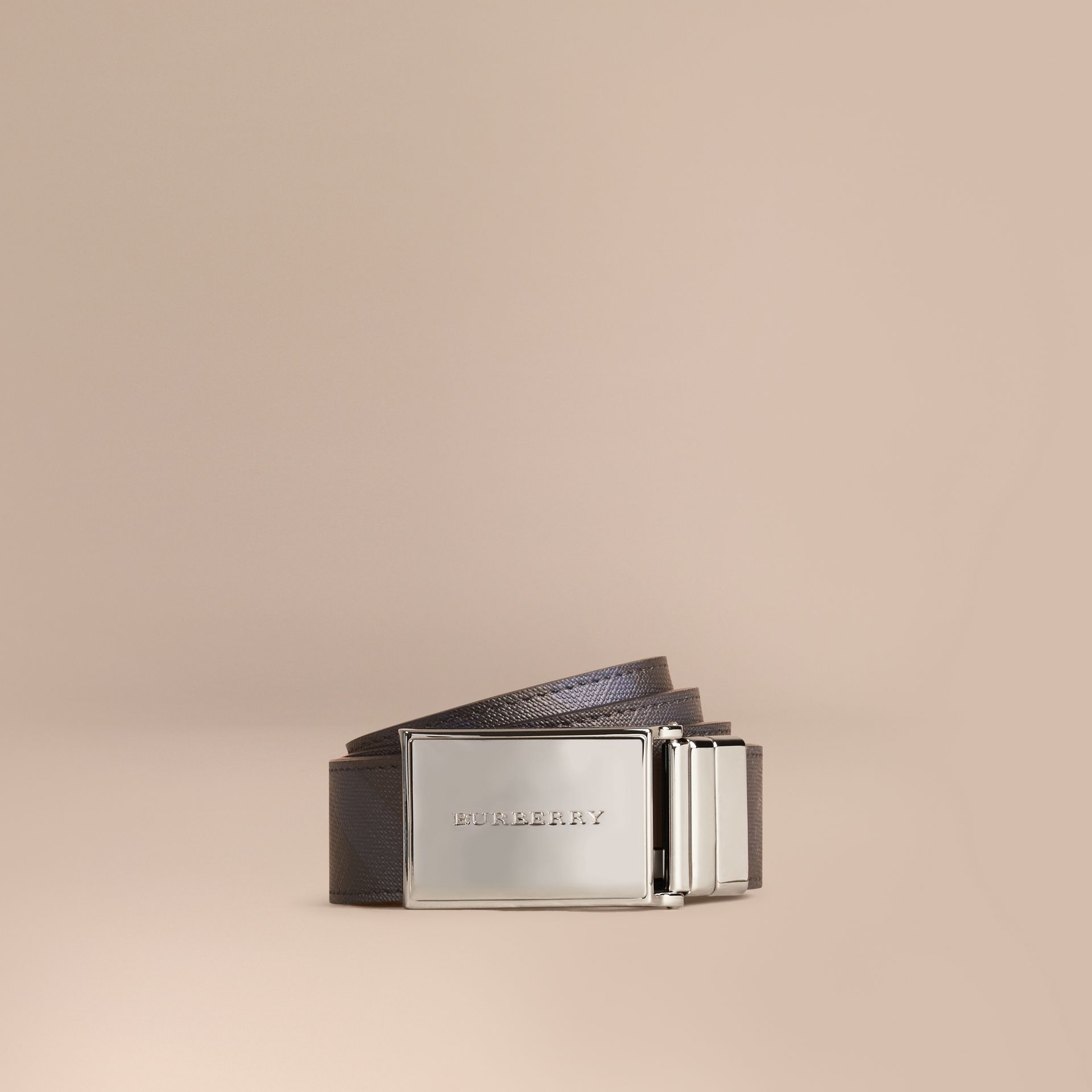 Reversible London Check and Leather Belt in Navy/black - Men | Burberry Hong Kong - gallery image 1