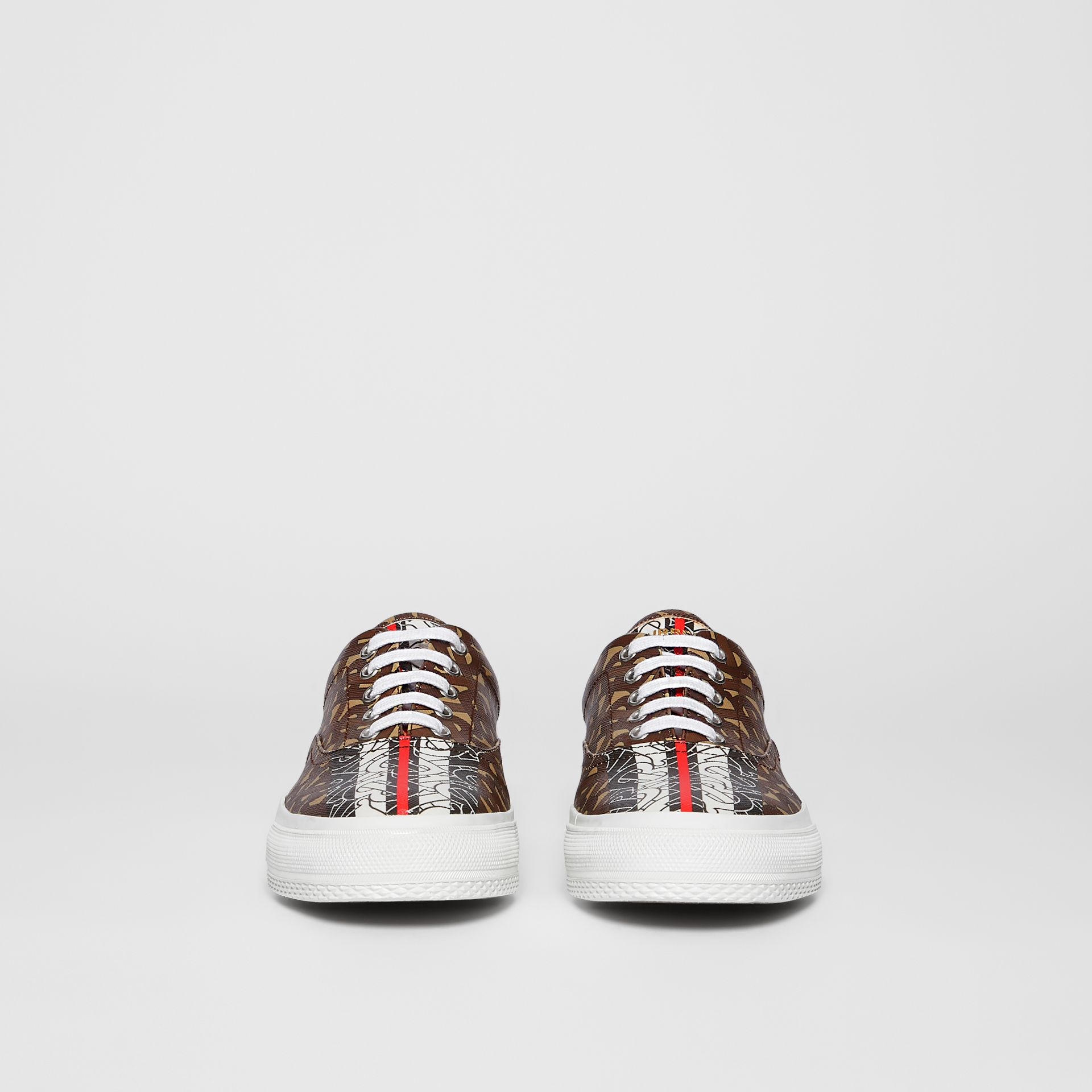 Monogram Stripe E-canvas Sneakers in Bridle Brown - Women | Burberry - gallery image 3
