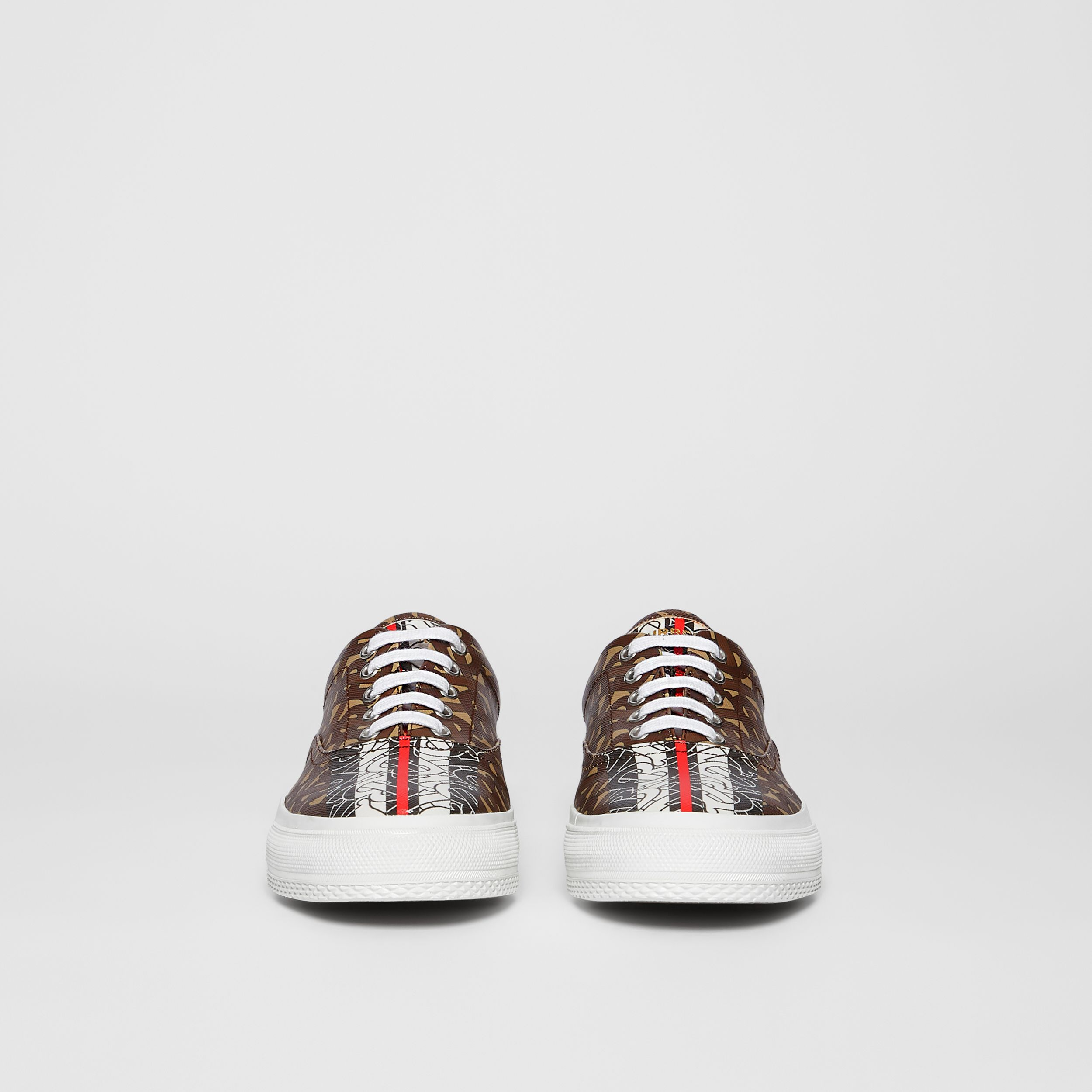 Monogram Stripe E-canvas Sneakers in Bridle Brown - Women | Burberry - 4