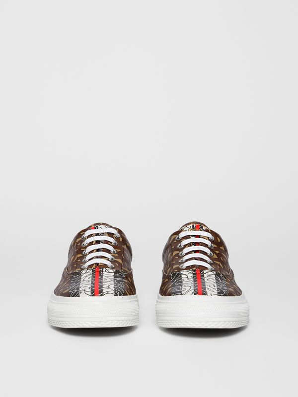 Monogram Stripe E-canvas Sneakers in Bridle Brown - Women | Burberry - cell image 3