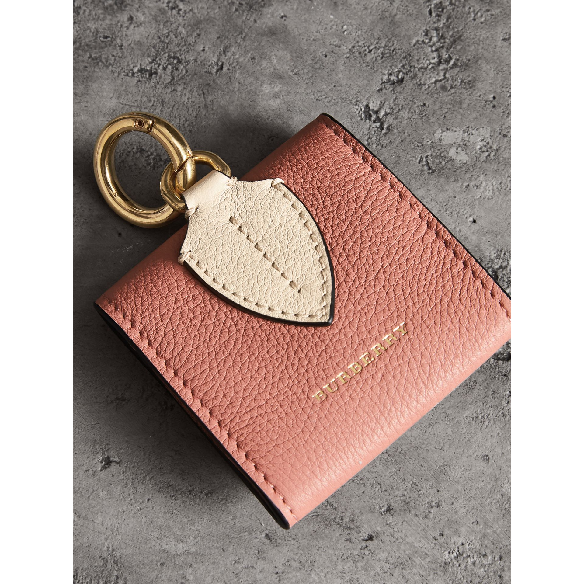 Small Square Leather Coin Case Charm in Dusty Rose/limestone - Women | Burberry - gallery image 2