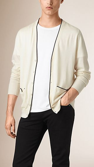 V-Neck Wool Silk Blend Cardigan