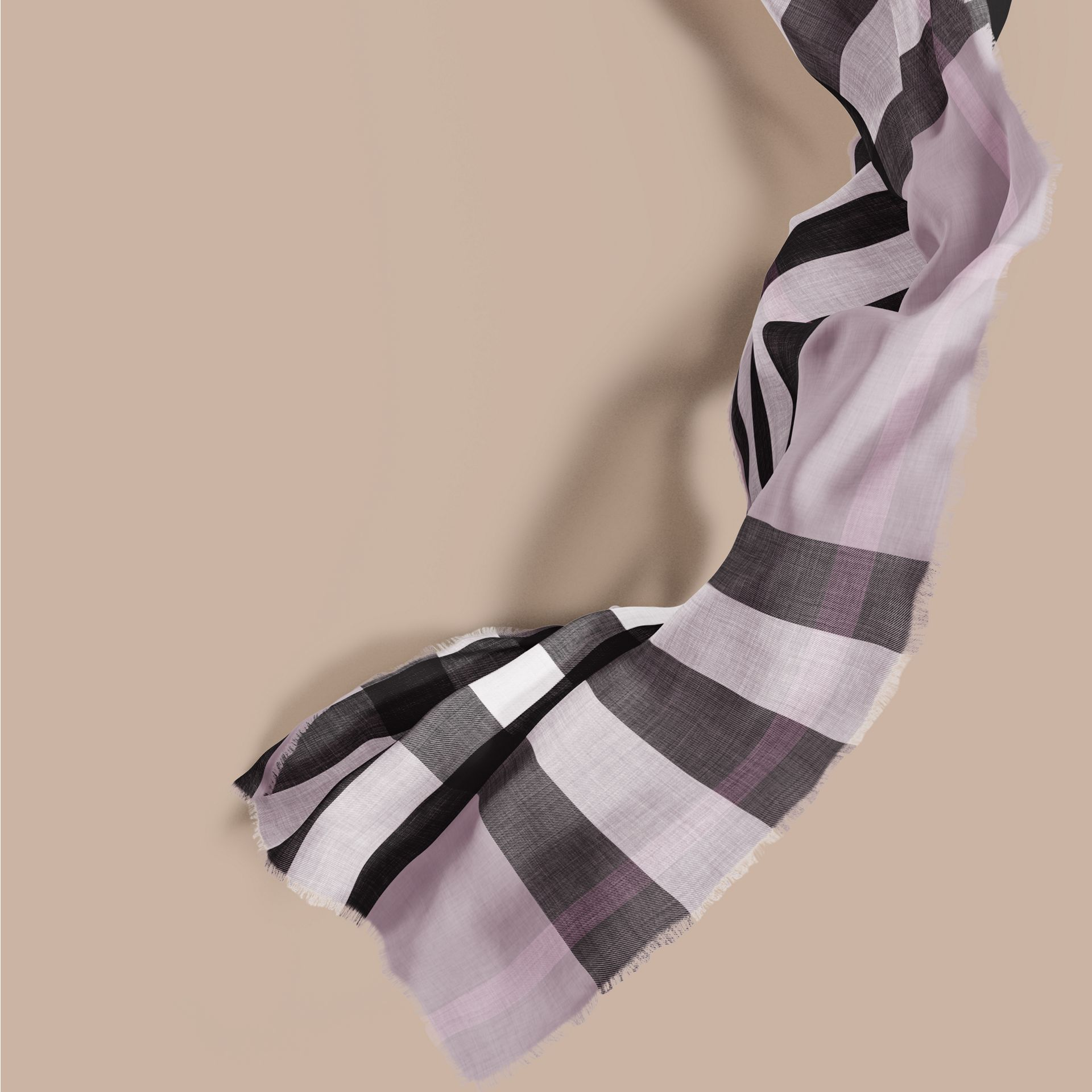 The Lightweight Cashmere Scarf in Check Dusty Lilac - gallery image 1