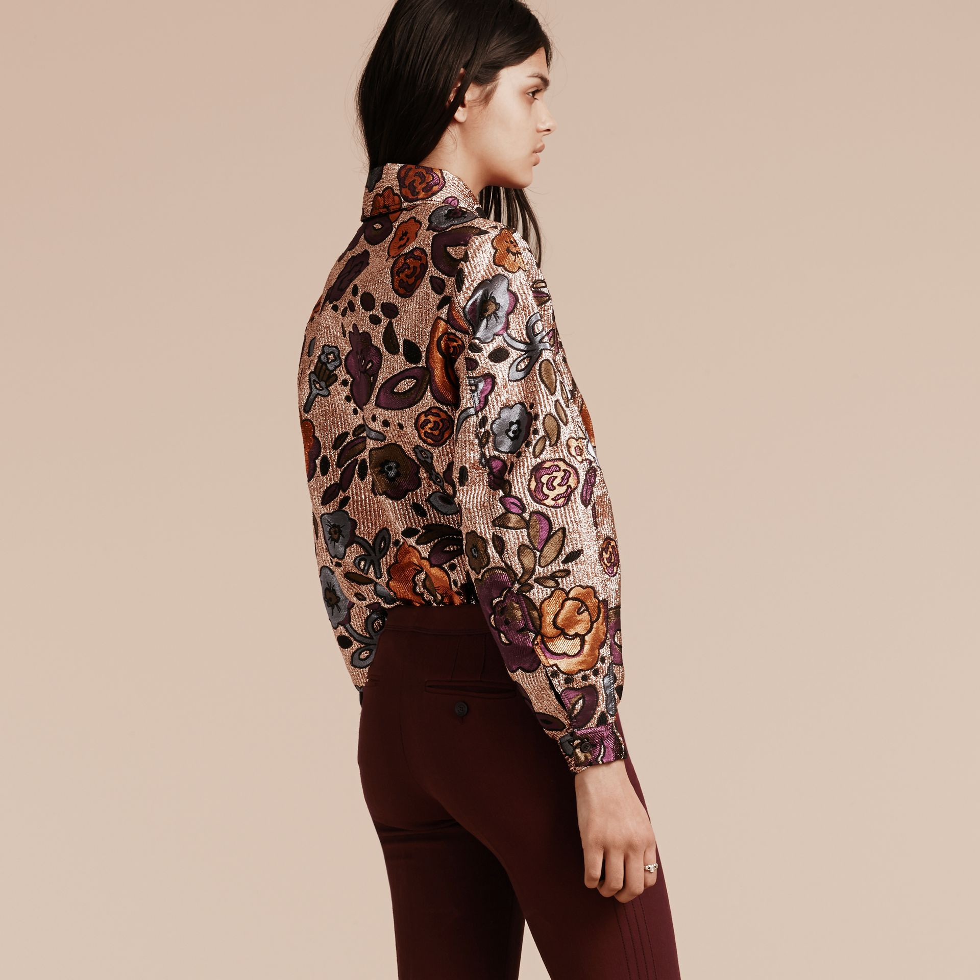 Copper rose Lamé and Floral Jacquard Sculptured Sleeve Shirt - gallery image 3
