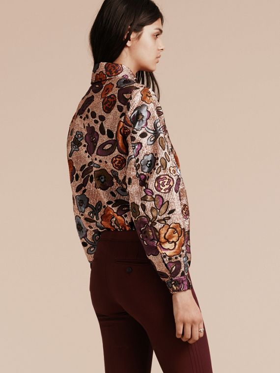 Copper rose Lamé and Floral Jacquard Sculptured Sleeve Shirt - cell image 2