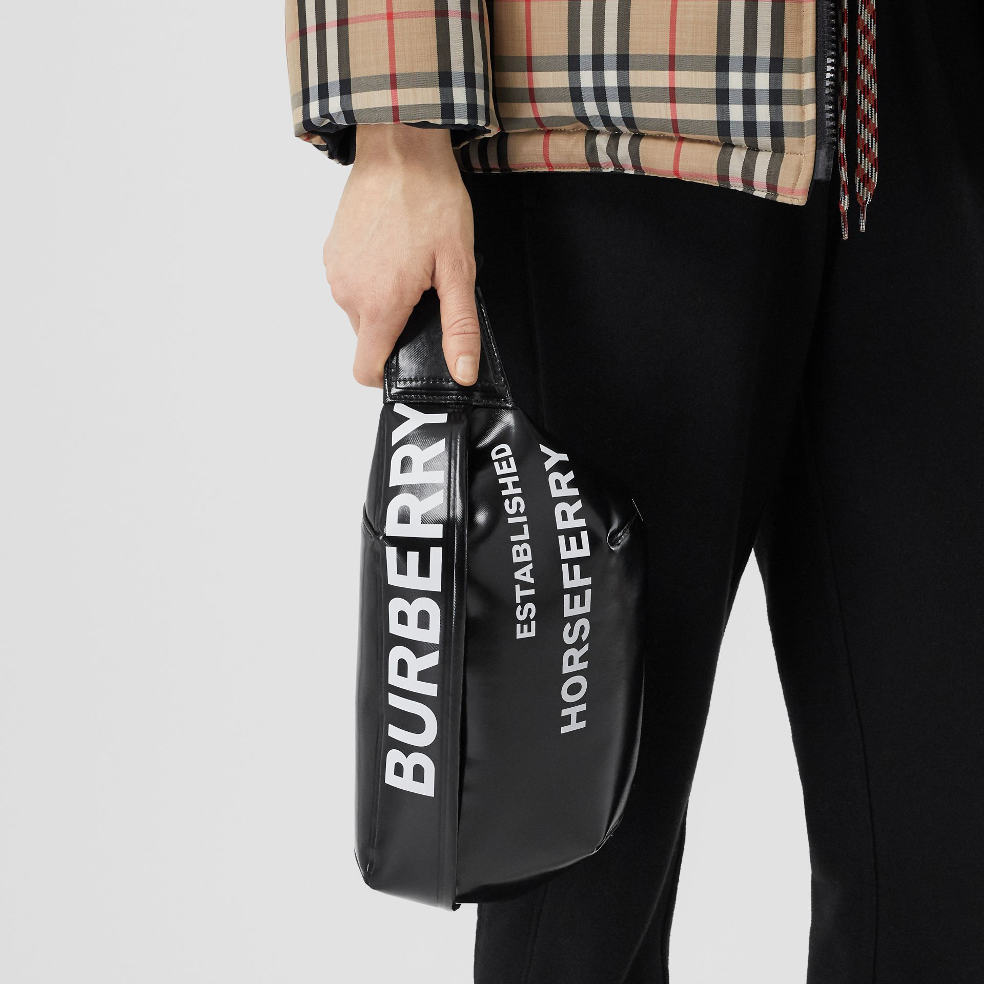 Medium Horseferry Print Bum Bag in Black | Burberry Australia - gallery image 2