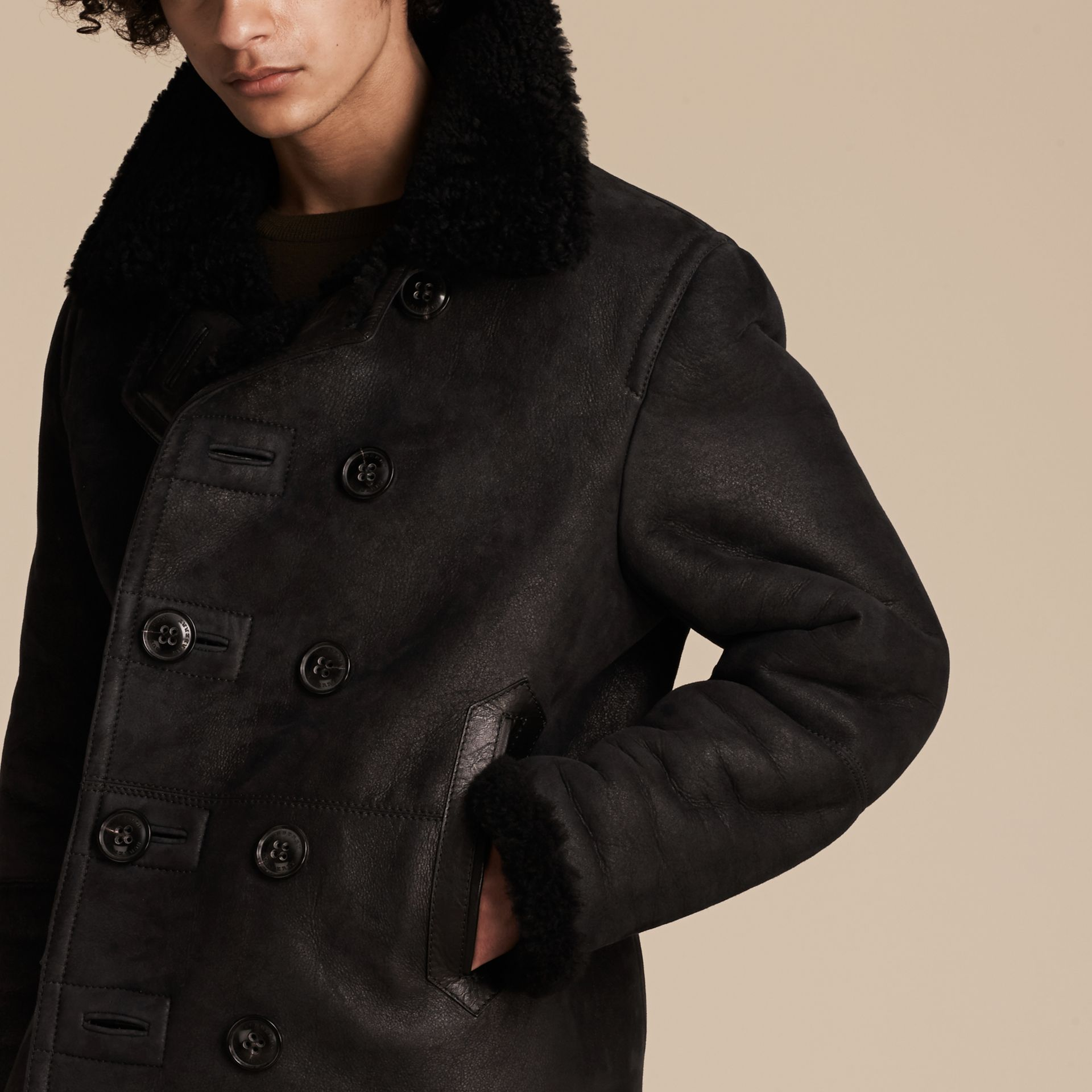 Black Shearling Pea Coat - gallery image 6