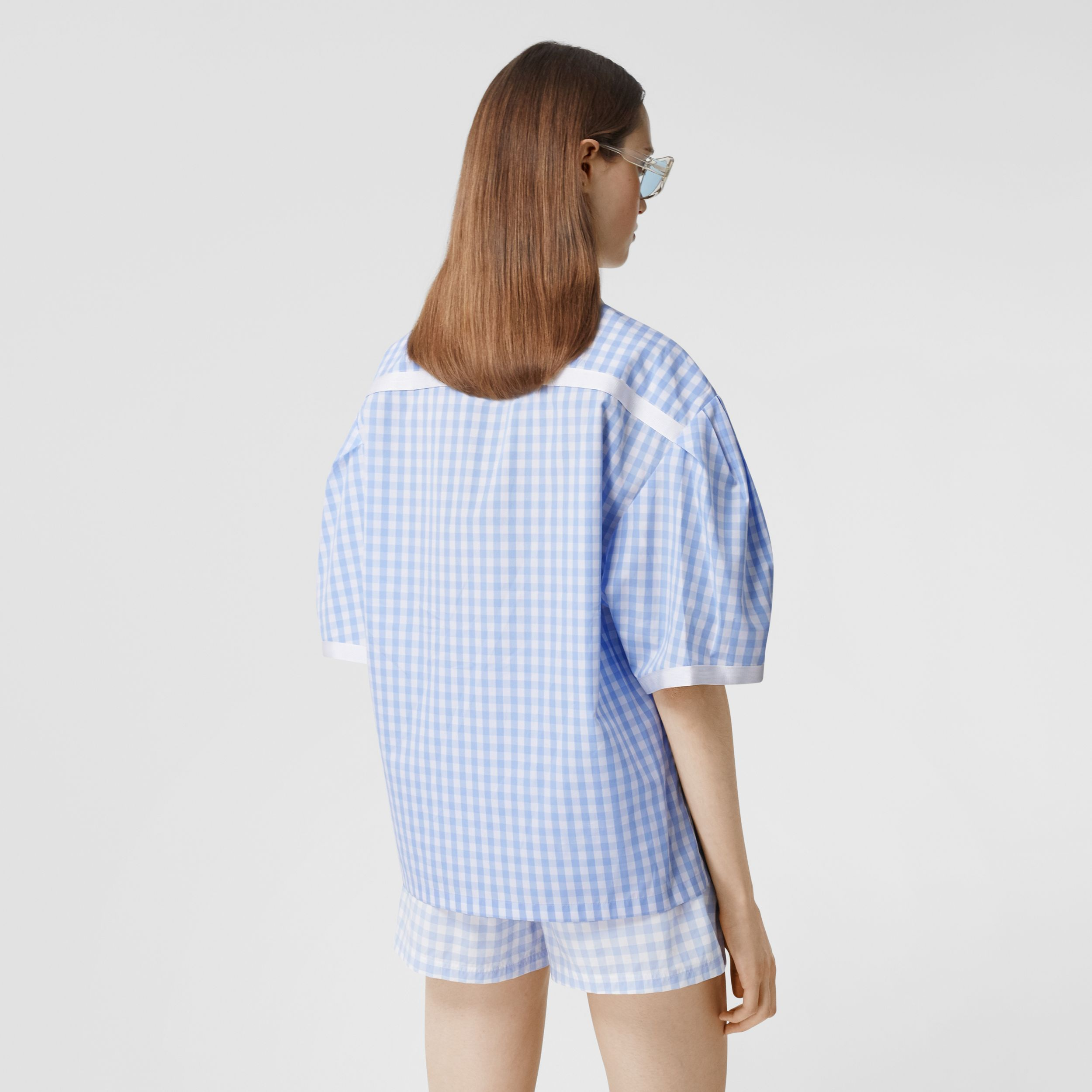 Puff-sleeve Gingham Cotton Oversized Shirt in Pale Blue - Women | Burberry Canada - 3