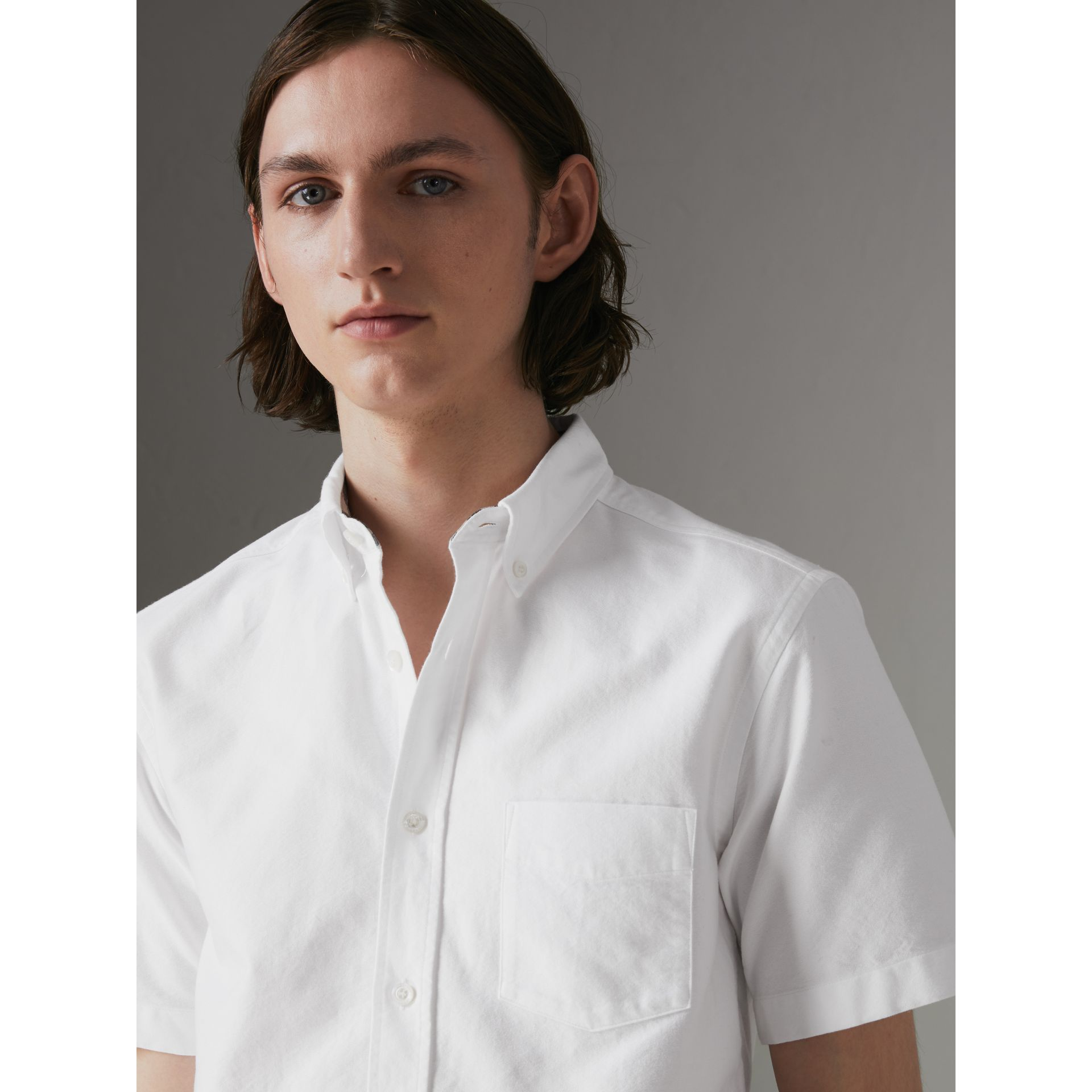 Short-sleeve Cotton Oxford Shirt in White - Men | Burberry United Kingdom - gallery image 1