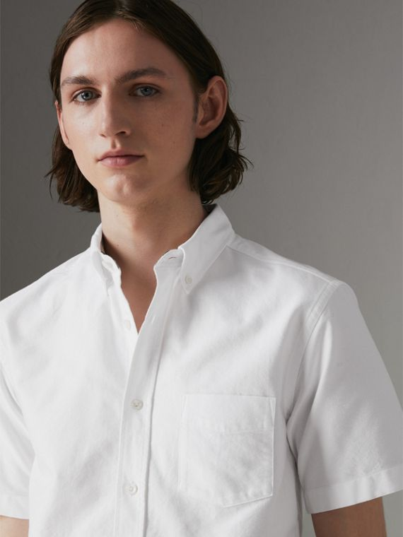 Short-sleeve Cotton Oxford Shirt in White
