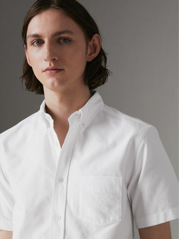 Short-sleeve Cotton Oxford Shirt in White - Men | Burberry United Kingdom - cell image 1