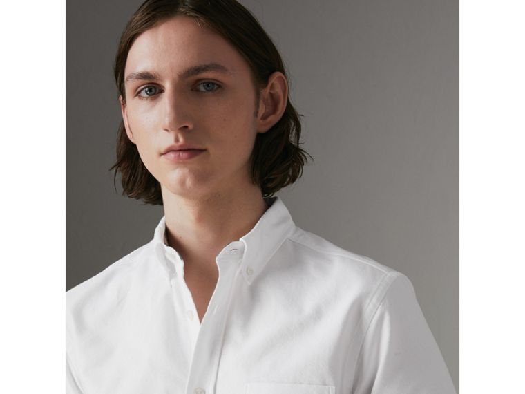 Short-sleeve Cotton Oxford Shirt in White - Men | Burberry - cell image 1
