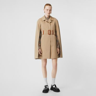 Leather Detail Cotton Gabardine Belted Cape by Burberry