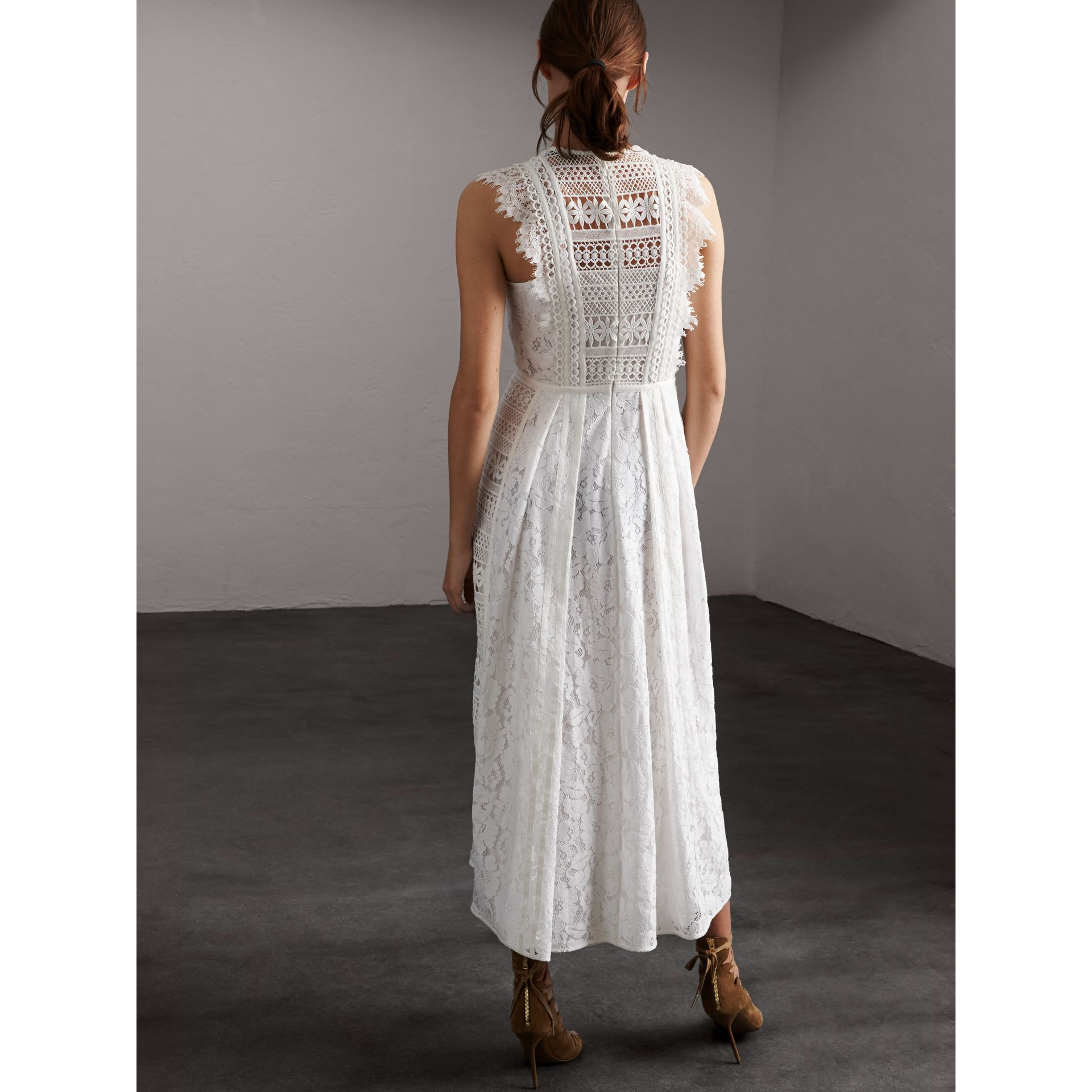 Sleeveless Macramé Lace Dress in White - Women | Burberry - gallery image 3