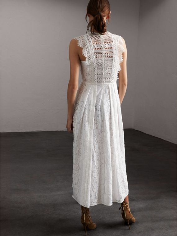 Sleeveless Macramé Lace Dress in White - Women | Burberry - cell image 2