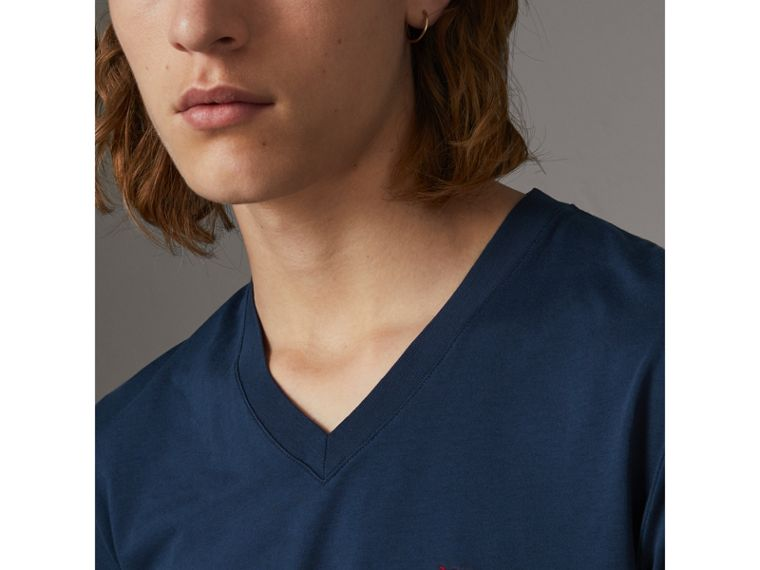 Cotton V-neck T-shirt in Navy - Men | Burberry Hong Kong - cell image 1