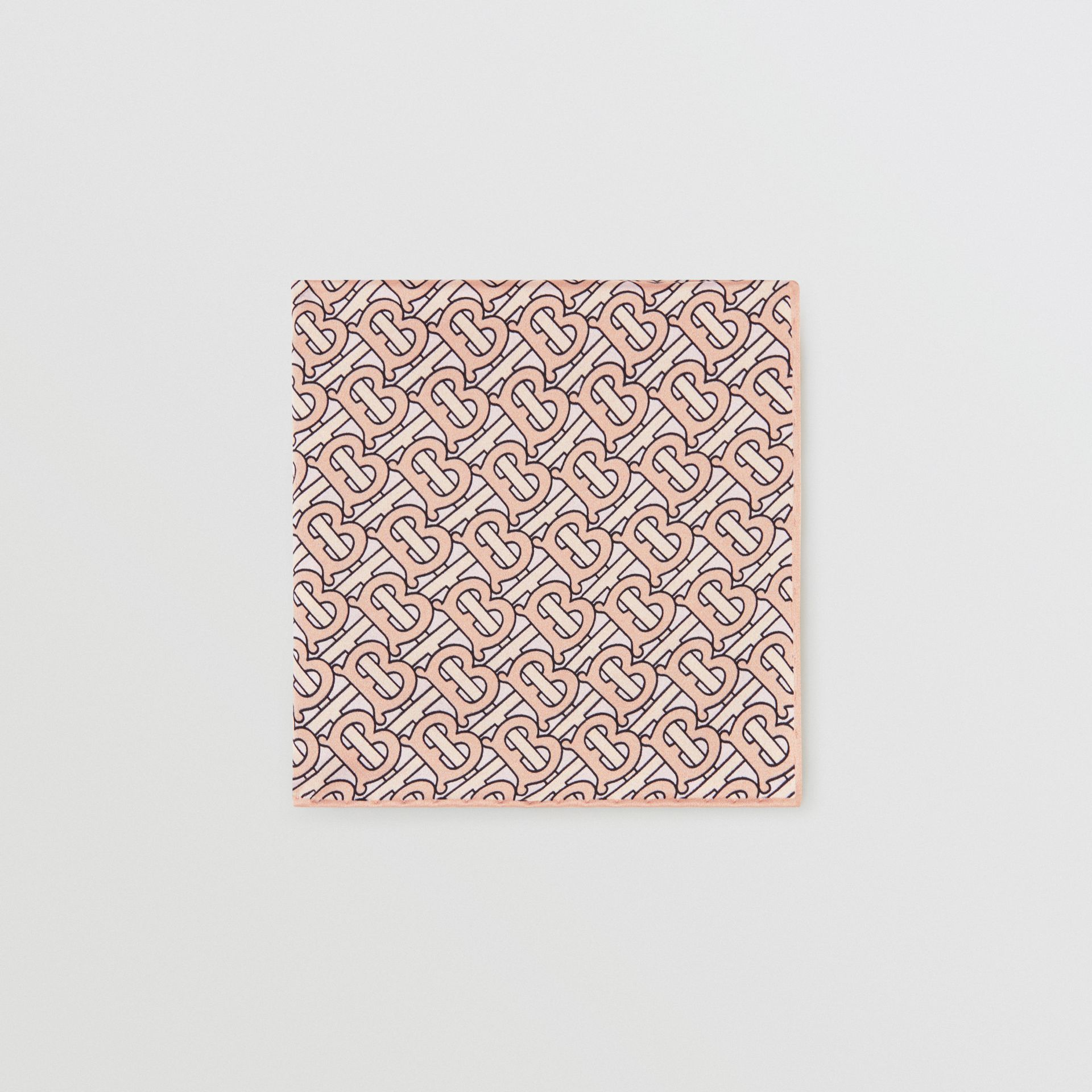 Monogram Print Silk Satin Pocket Square in Copper Pink - Men | Burberry United States - gallery image 0