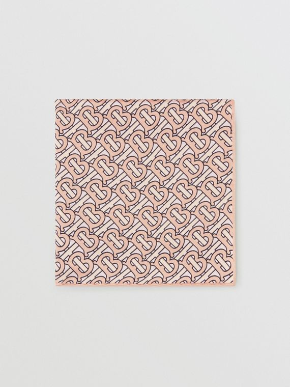 Monogram Print Silk Satin Pocket Square in Copper Pink