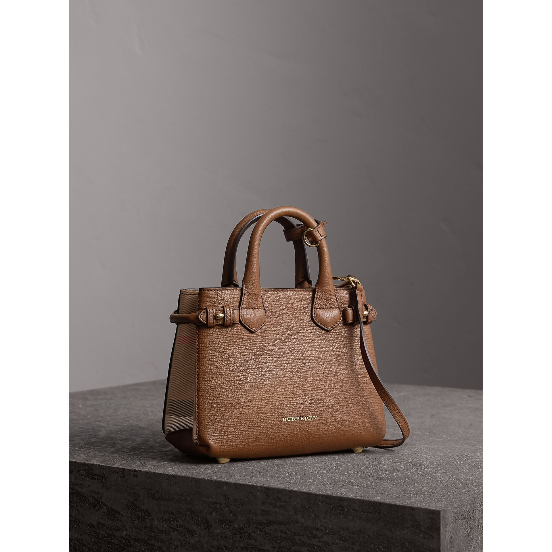 The Baby Banner in Leather and House Check in Tan - Women | Burberry - gallery image 1