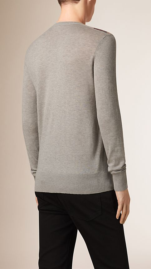 Pale grey melange Check Detail Cotton Cashmere Sweater - Image 2