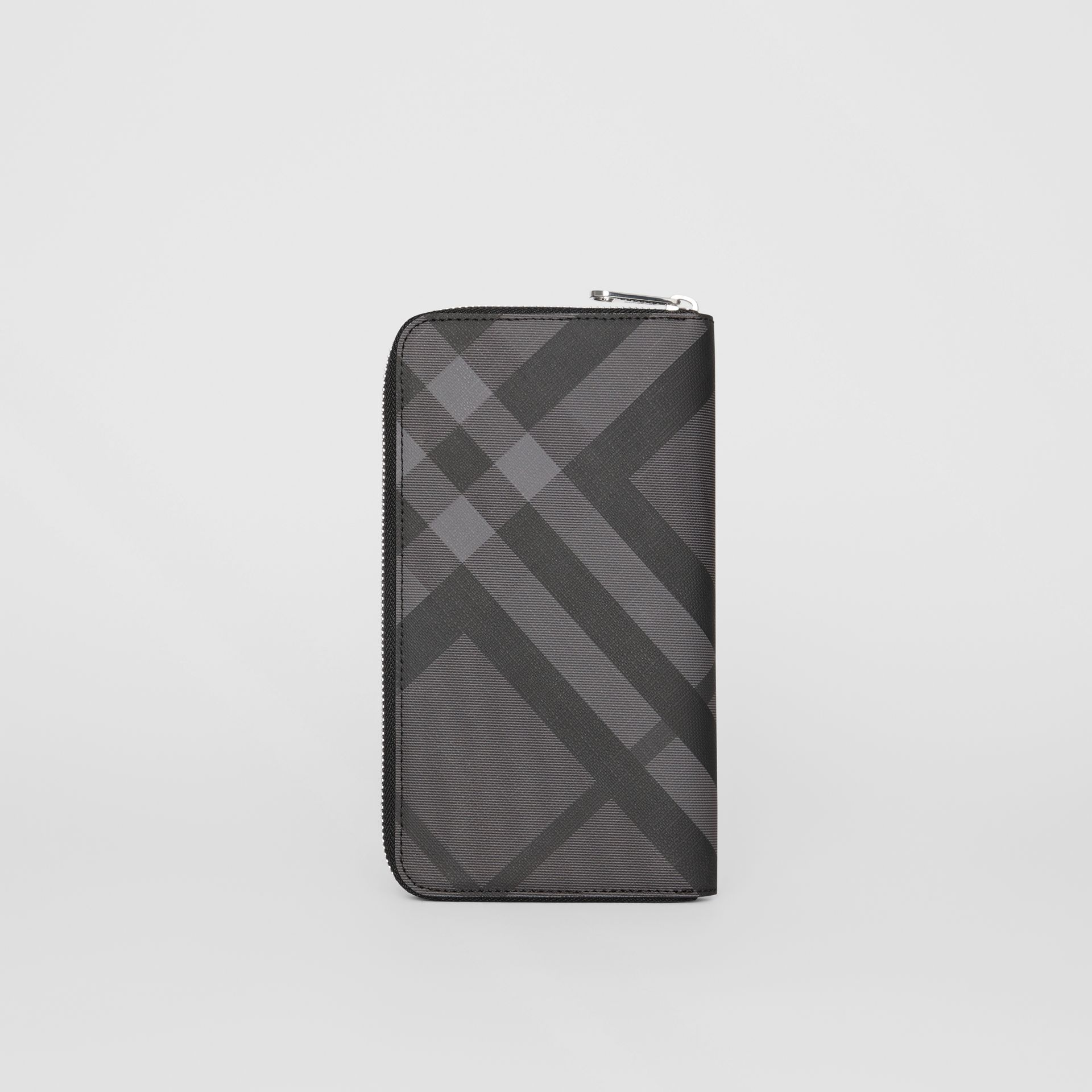 London Check and Leather Ziparound Wallet in Charcoal/black - Men | Burberry - gallery image 5