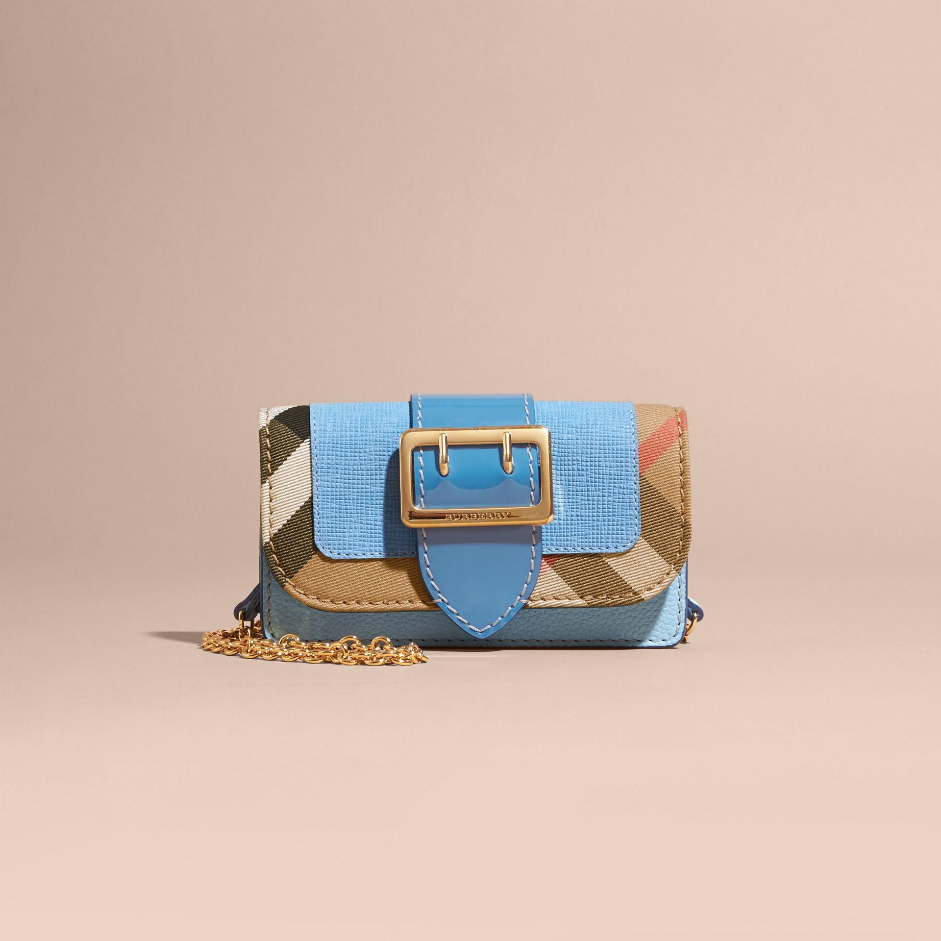 Bright mineral blue The Mini Buckle Bag in Leather and House Check Bright Mineral Blue - gallery image 9