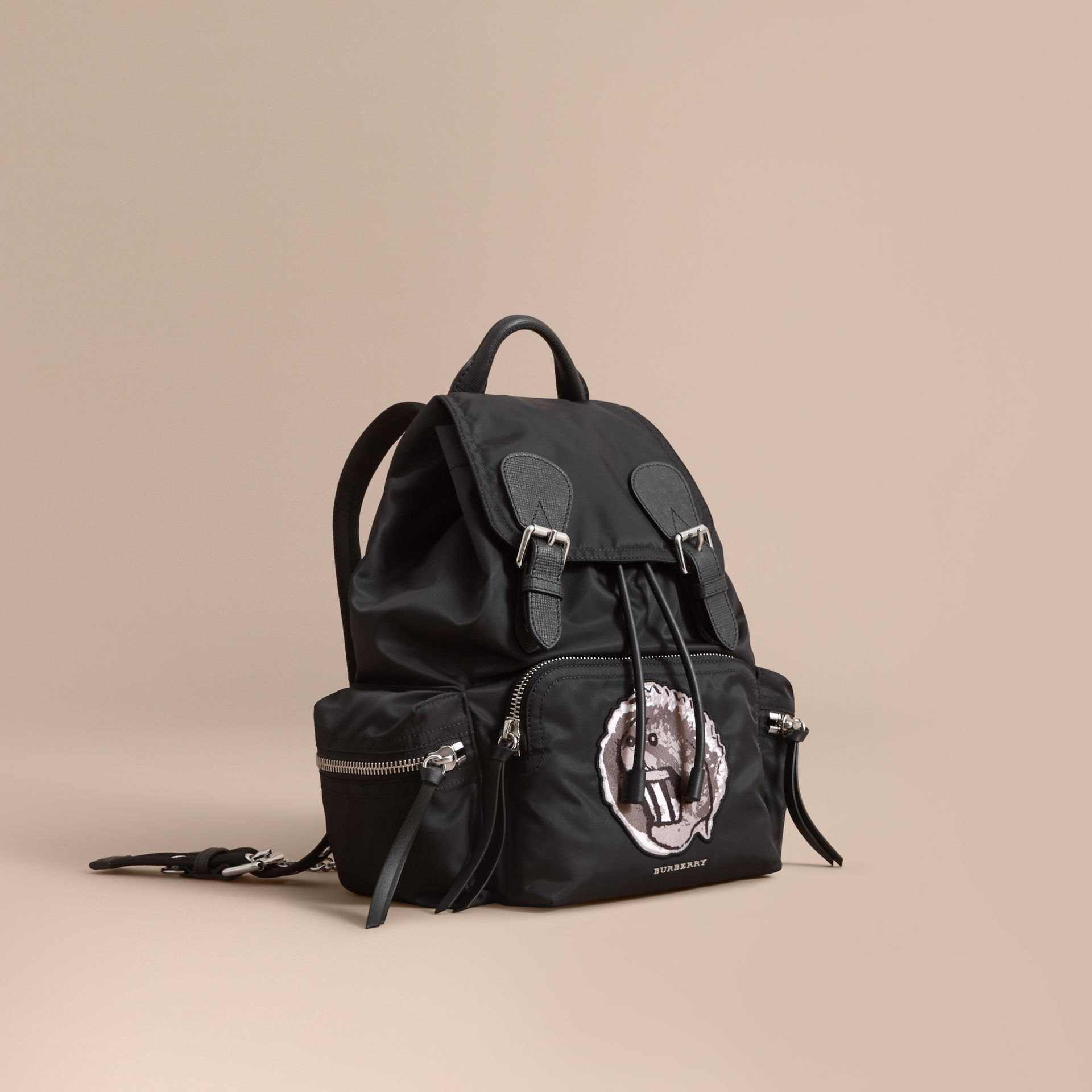 The Medium Rucksack in Technical Nylon with Pallas Heads Appliqué - gallery image 1