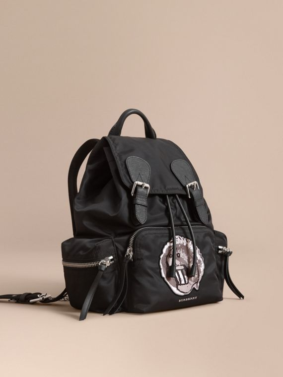 The Medium Rucksack in Technical Nylon with Pallas Heads Appliqué