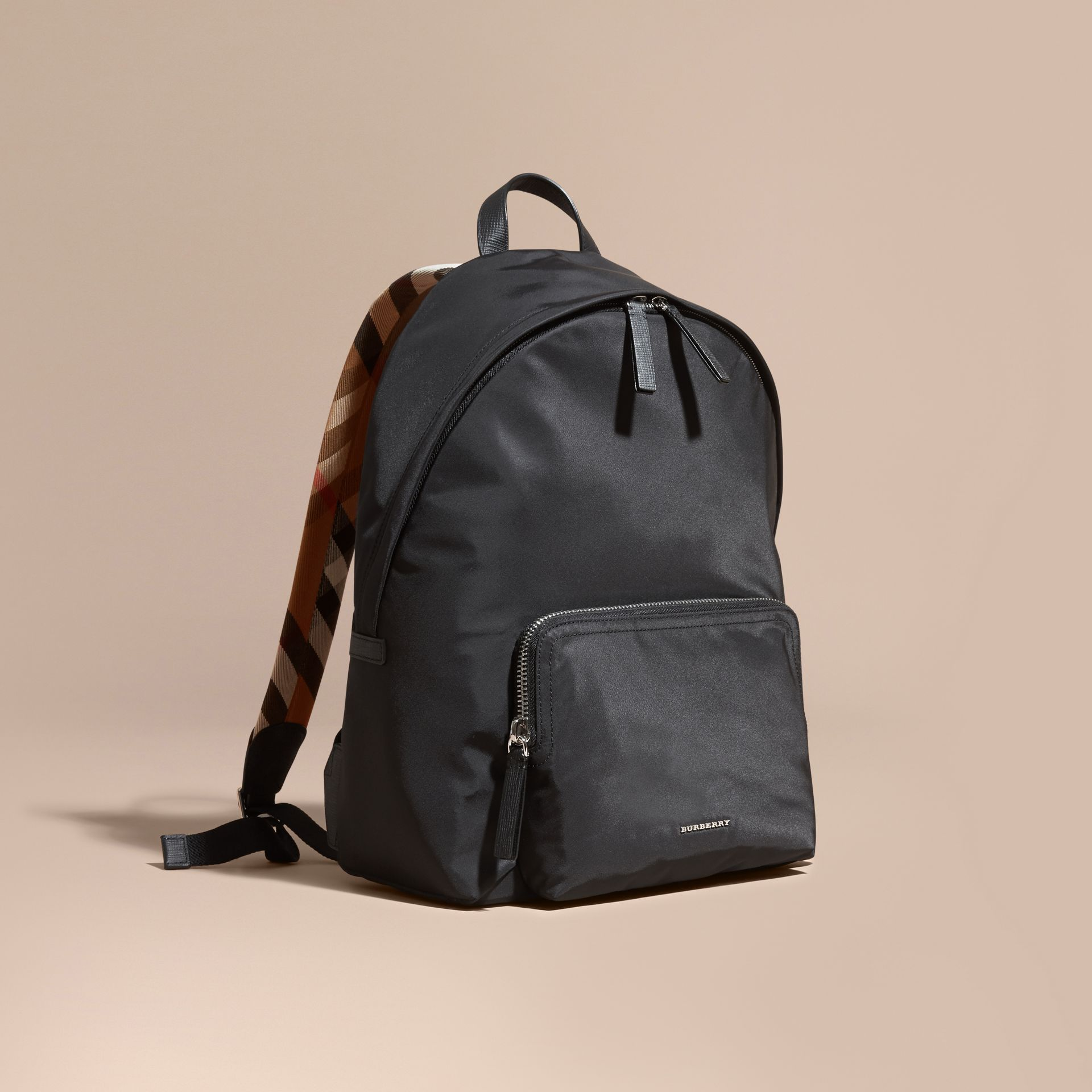 Black Leather Trim Nylon Backpack with Check Detail - gallery image 1