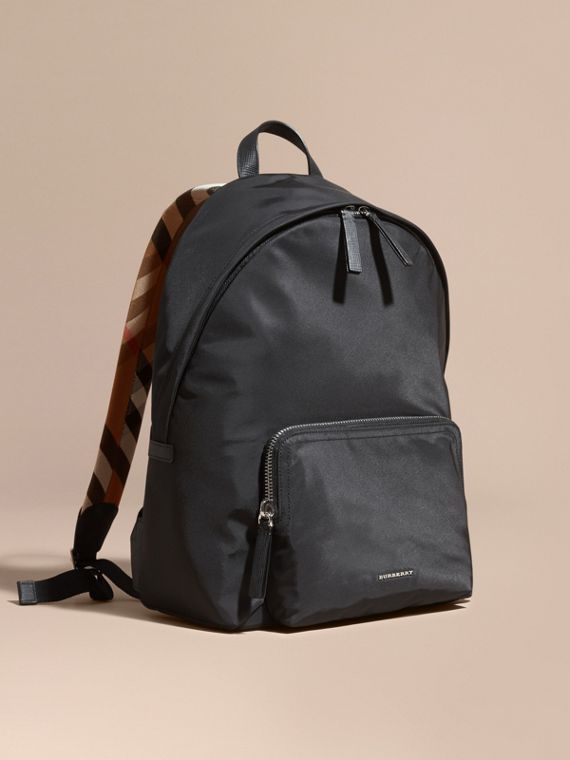 Leather Trim Nylon Backpack with Check Detail