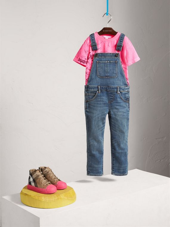 Stretch Denim Dungarees in Mid Indigo