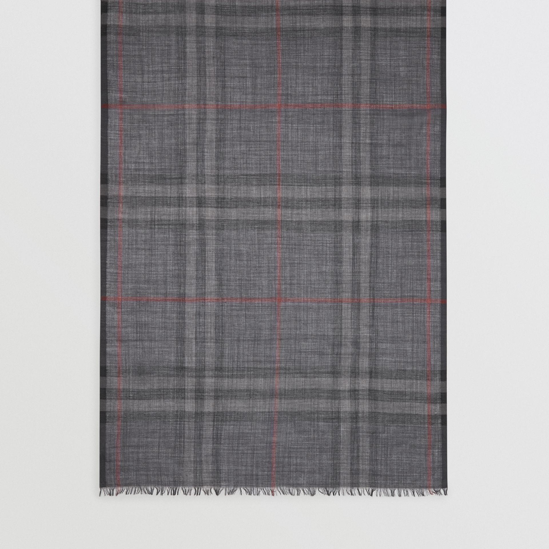 Lightweight Check Wool and Silk Scarf in Charcoal | Burberry - gallery image 5