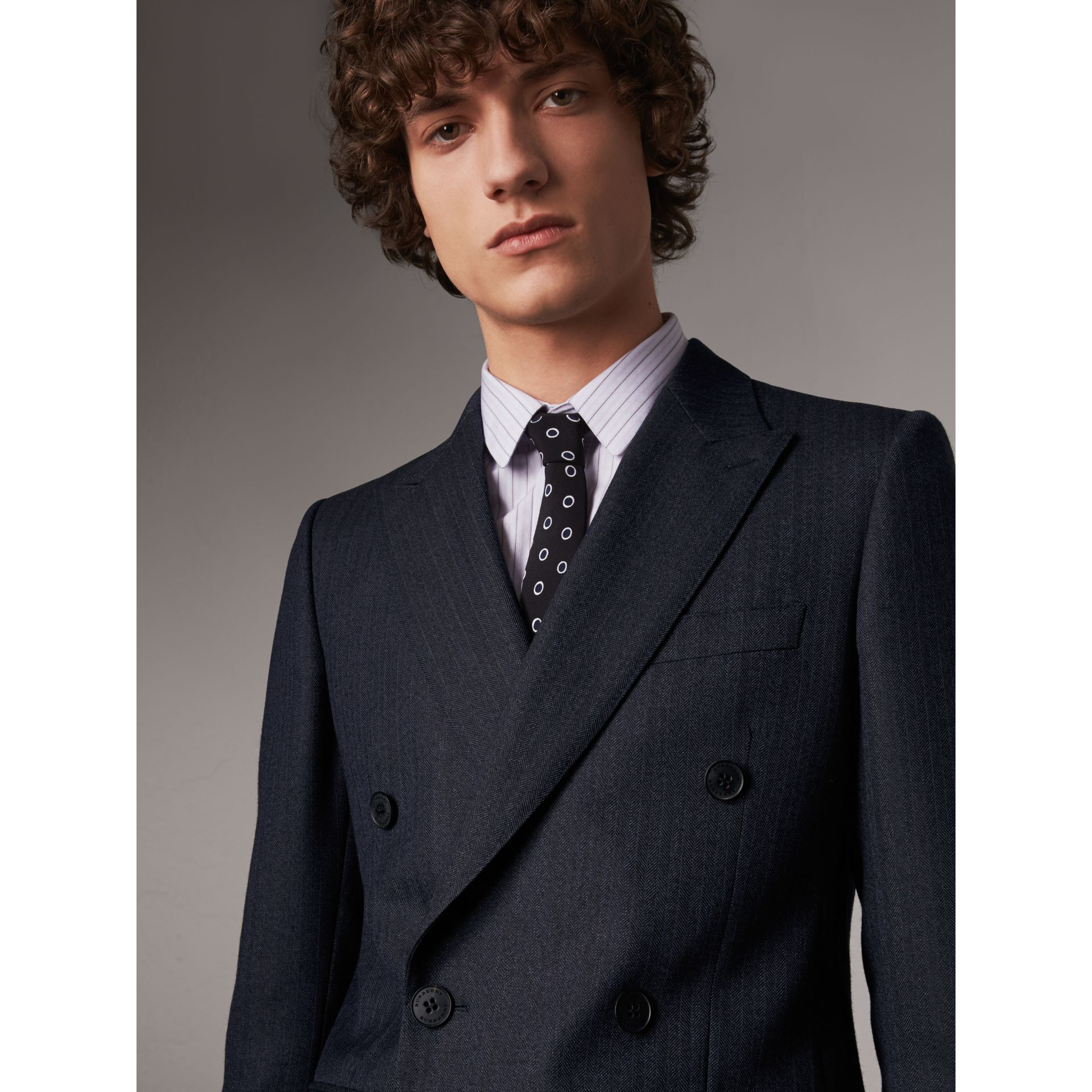 Slim Fit Double-breasted Herringbone Wool Suit in Ink Blue - Men | Burberry - gallery image 6