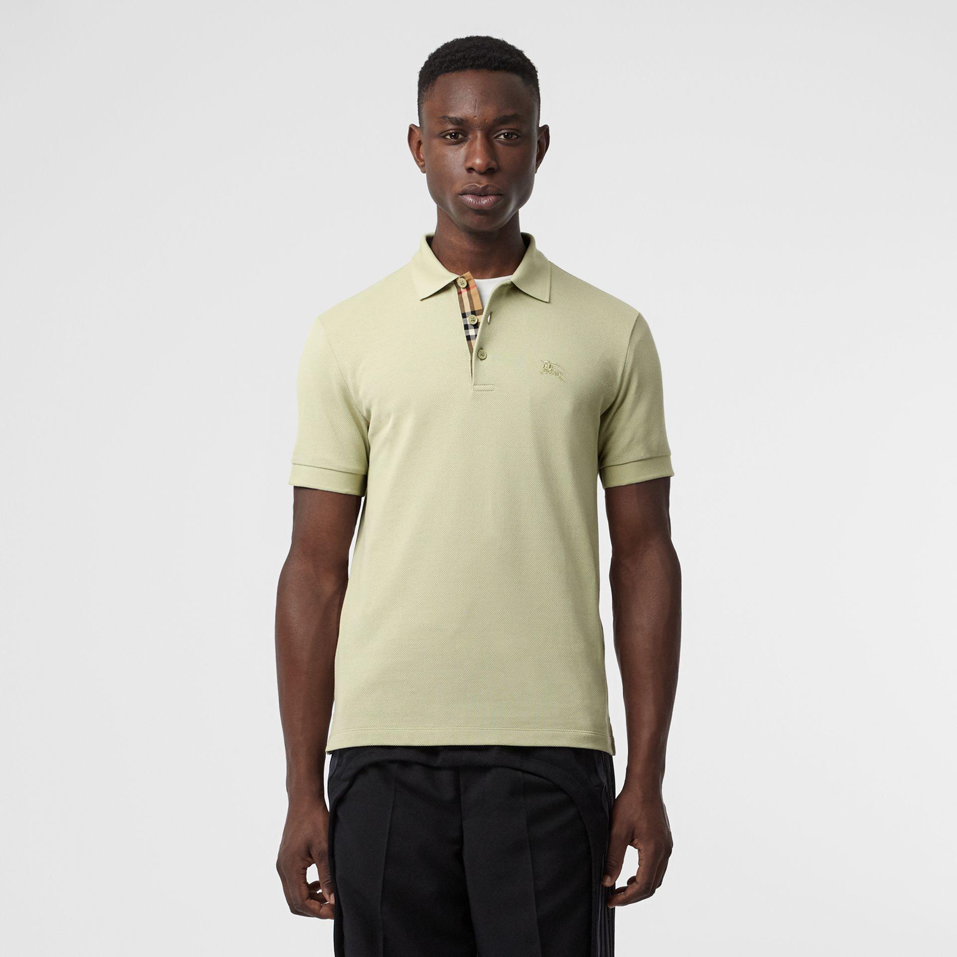 Check Placket Cotton Polo Shirt in Pale Apple Green - Men | Burberry - gallery image 0