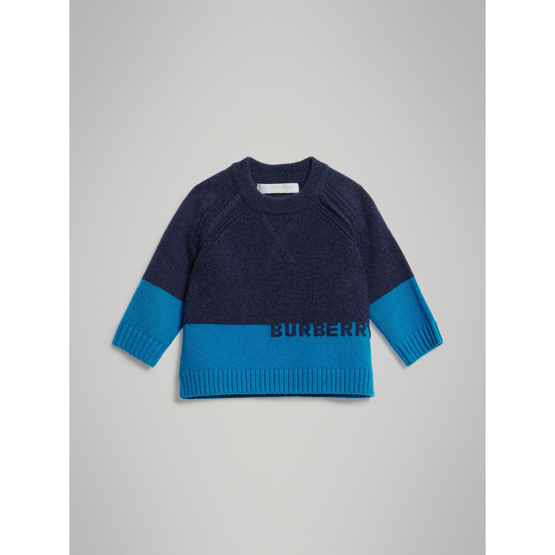 Logo Intarsia Cashmere Sweater in Navy - Children | Burberry Australia - gallery image 0