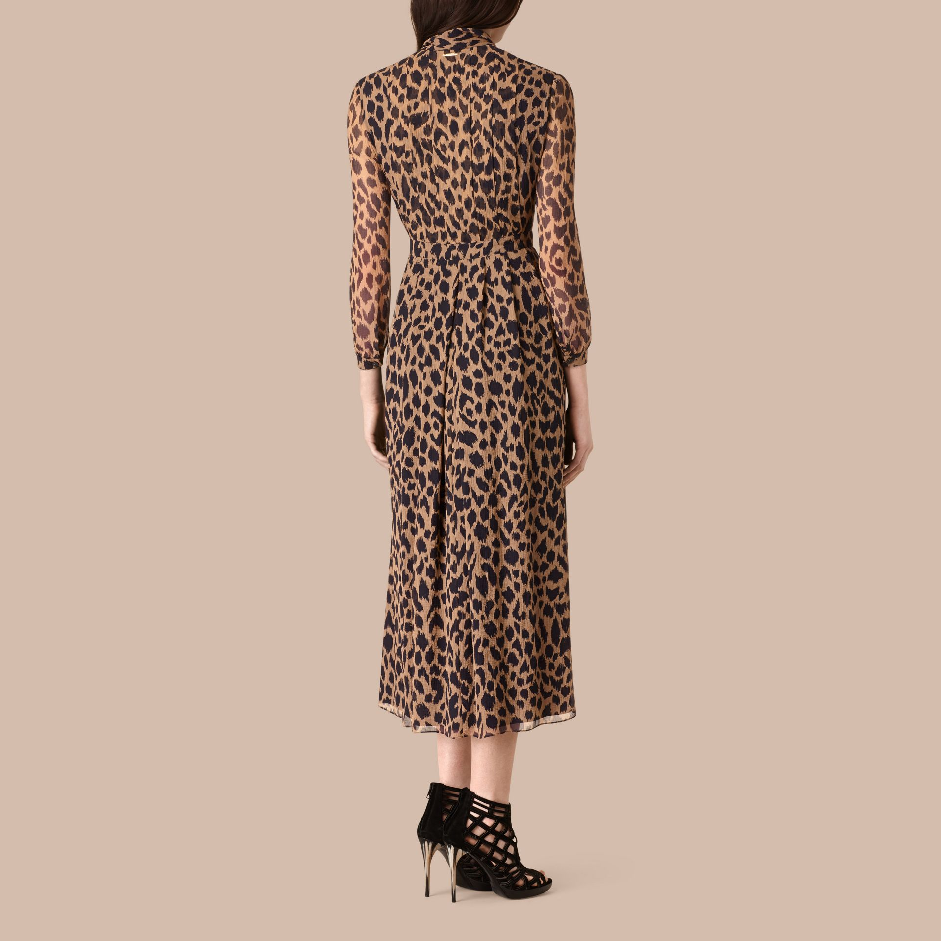 Camel/black Tie Detail Animal Print Silk Dress - gallery image 3