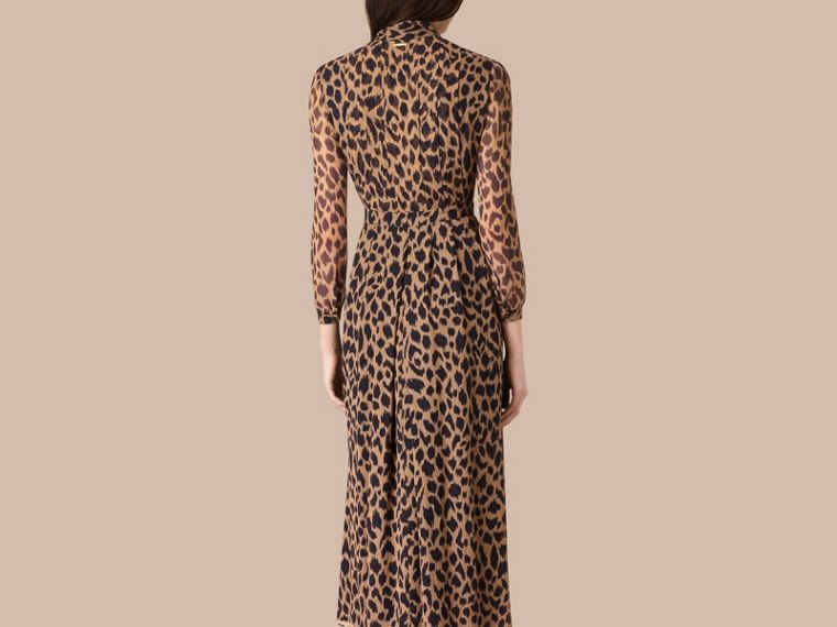 Camel/black Tie Detail Animal Print Silk Dress - cell image 2