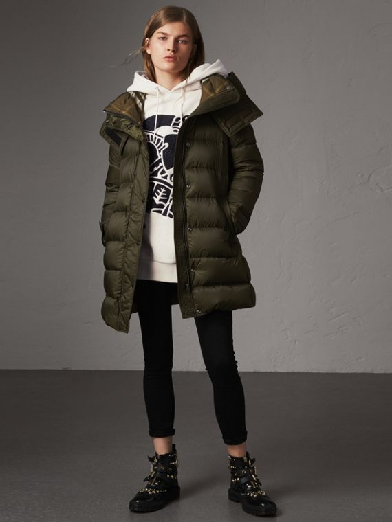 Detachable Hooded Down-filled Puffer Coat in Olive