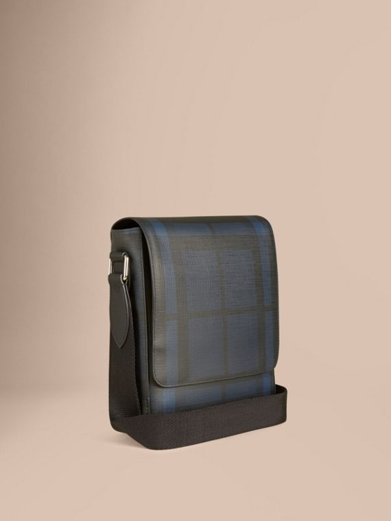 London Check Crossbody Bag in Navy/black