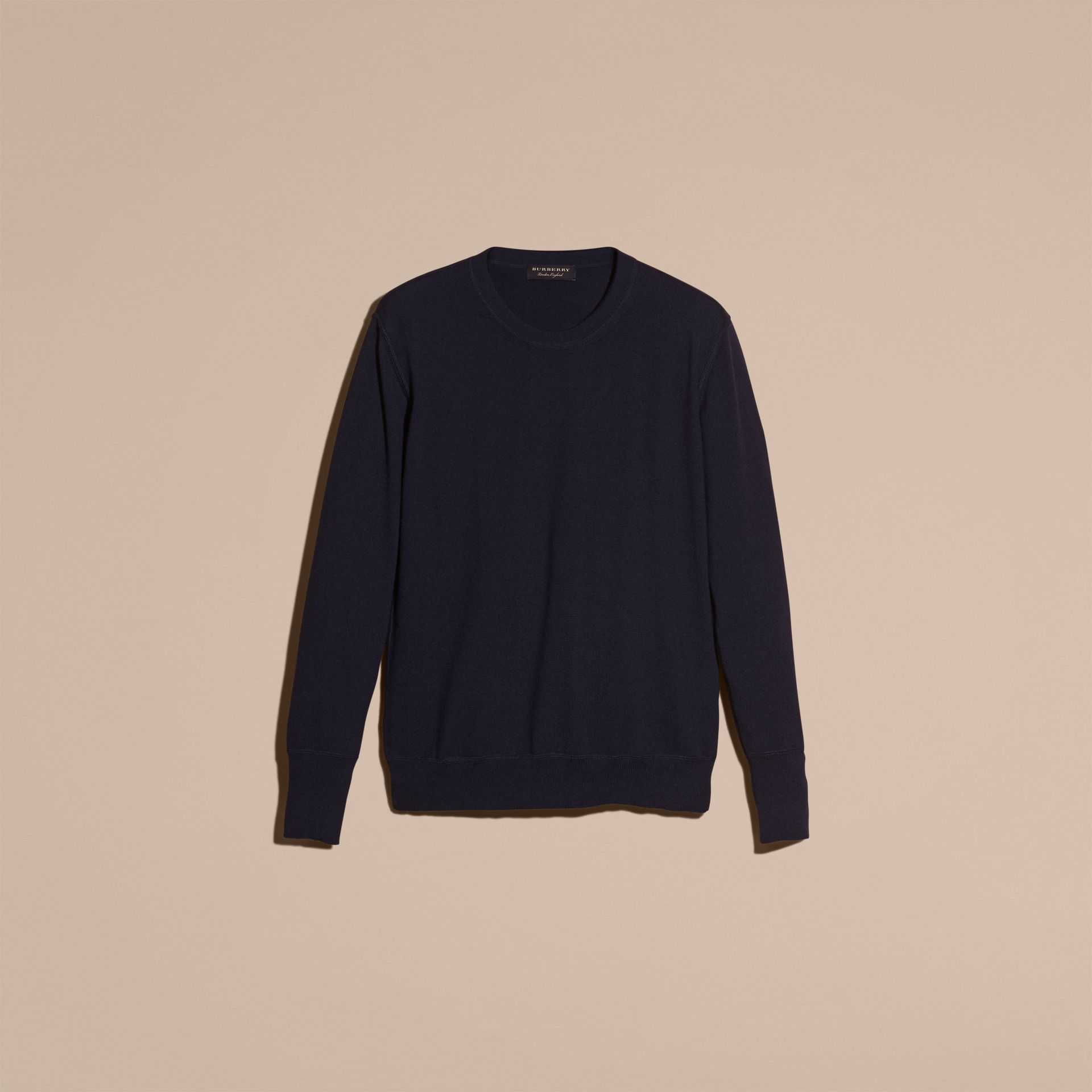 Crew Neck Cashmere Sweater in Navy - gallery image 4