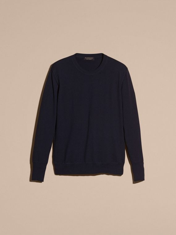 Crew Neck Cashmere Sweater in Navy - cell image 3