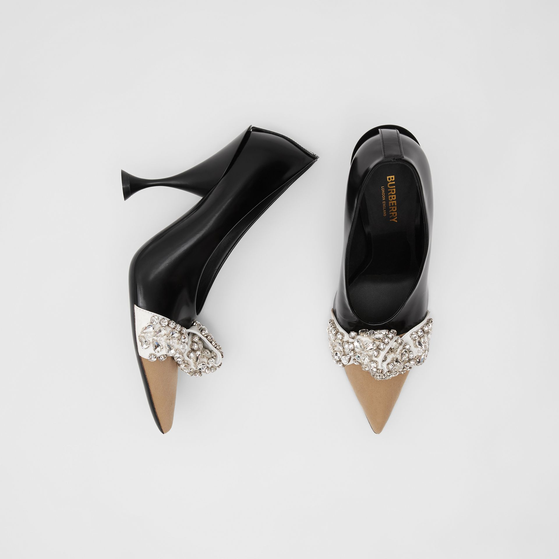 Crystal Detail Leather and Suede Point-toe Pumps in Black - Women | Burberry - gallery image 0