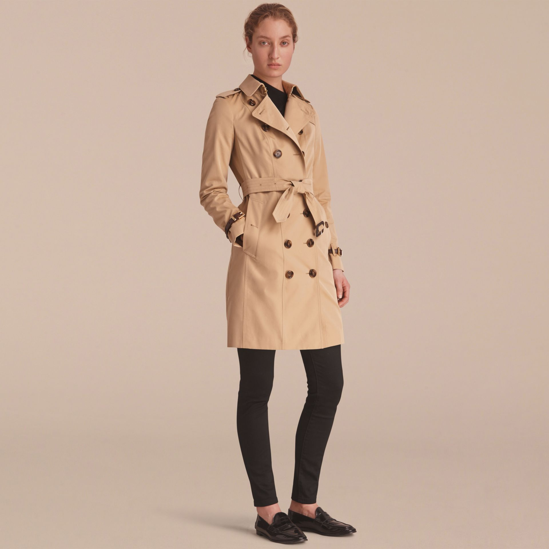 Leather Trim Cotton Gabardine Trench Coat Honey - gallery image 8