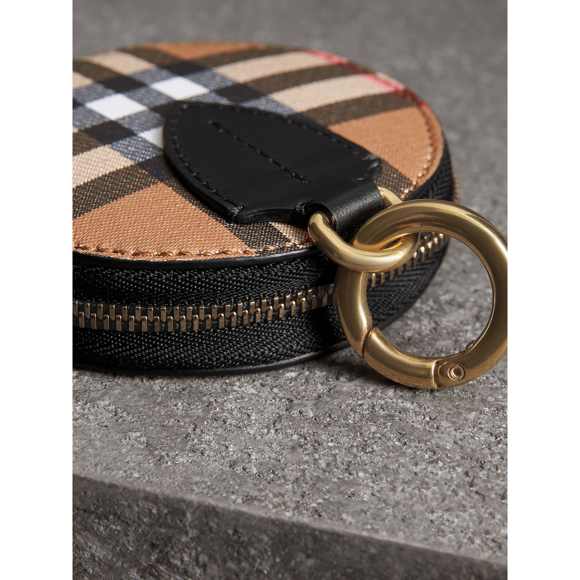 Vintage Check and Leather Coin Case in Black - Women | Burberry - gallery image 1