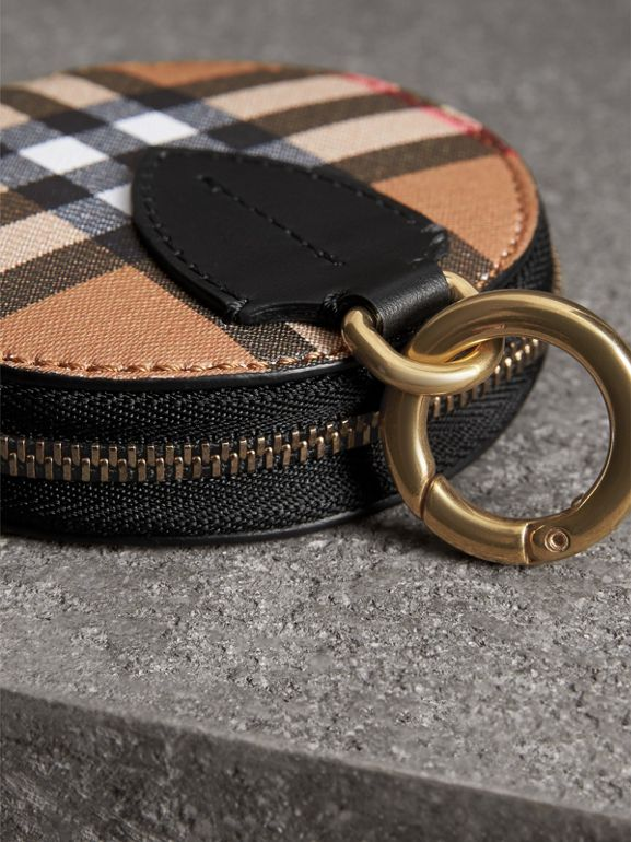 Vintage Check and Leather Coin Case in Black - Women | Burberry - cell image 1